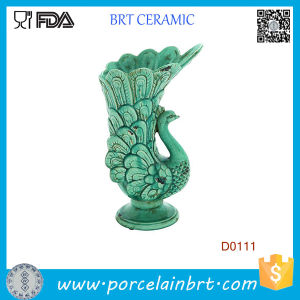 Showy Flowing Feathers Peacock Green Ceramic Vase pictures & photos