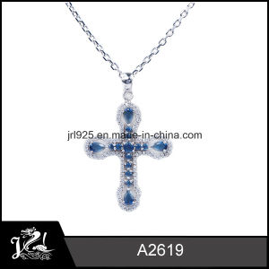 925 Sterling Silver Blue Sapphire Cross Pendant