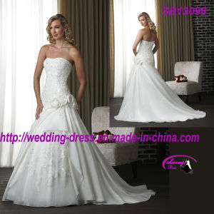 Strapless Organza Beach Wedding Dress with Charming Flowers pictures & photos