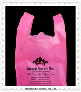 HDPE Plastic Tshirt Bags /Singlet Bag with Printing for Grocery pictures & photos
