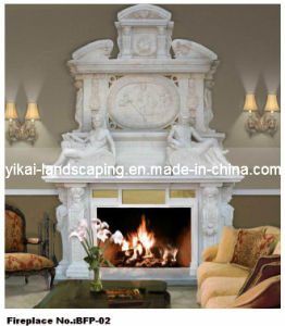 Luxury Big White Marble Fireplace for Villa Decoration (YKBFP-02)