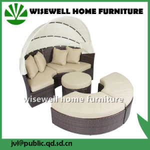 Wicker Rattan Patio Sofa Furniture with Canopy (WXH-008) pictures & photos