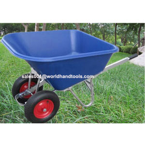 Garden Tools Twin Wheels Wheelbarrow with Large Plastic Tray pictures & photos
