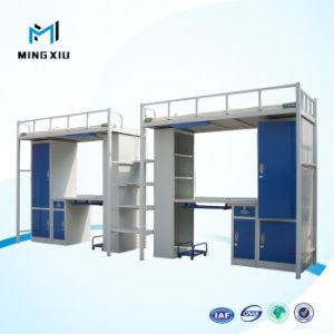Luoyang Low Price Bunk Bed with Desk / Metal Student Dormitory Bunk Bed with Locker pictures & photos