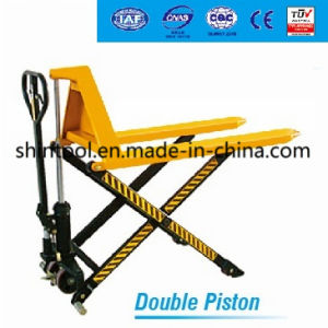 1.5 Ton High Lift Scissor Pallet Truck with Double Piston pictures & photos