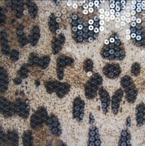 Polyester FDY Knit Print with 5mm Clear Sequin Allover Embroidery