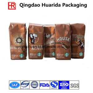 Flat Bottom Zipper Plastic Coffee Packaging Bag with Tear Notch pictures & photos