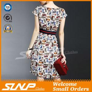 Women′s Short Sleeve Dress/Skirt with Waist Belt
