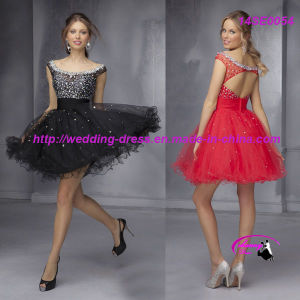 Fashion Boat Neckline Red Cocktail Evening Gowns with Cap Sleeves pictures & photos