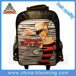 Girls Hot New School Trolley Wheeled Rolling Backpack Bag pictures & photos