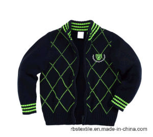 Stand Collar Cotton Intarsia Cardigan - Ture Knit pictures & photos