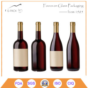 750ml Burgundy Glasses Bottle with Cork Finish pictures & photos