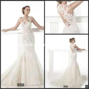 Sheer Bridal Formal Gowns Mermaid Lace Wedding Dress H059 pictures & photos
