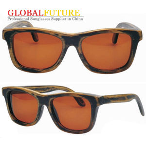 Fashion Bamboo Firing Color Wood Sunglasses