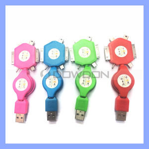 6 in 1 Color Retractable Data Charging Sync USB Cable for iPhone iPad Samsung Nokia and Tablet pictures & photos