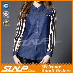 Wholesale Ladies Fashion Jeans Shirt with Chiffon Long Sleeve
