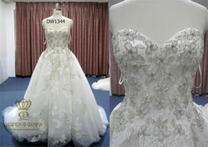 Ball-Gown Cathedral Train Tulle Wedding Dress with Beading Appliques pictures & photos