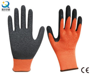 Cotton shell Latex palm coated crinkle finish work gloves pictures & photos