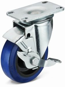 Flat Plate Swivel with Side Brake Elastic Rubber Caster (02S01B1075.32EPB)