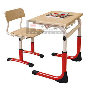 600*400mm Moulded School Furniture Board Height Adjustable Single Student Desk and Chair with Steel Frame for Middle School pictures & photos