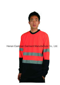 Men′s T/C Long Sleeve T-Shirt with Reflective Tape pictures & photos