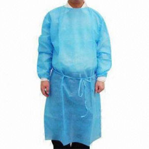 PP Nonwoven Coated Waterproof Yellow Isolation Gown pictures & photos