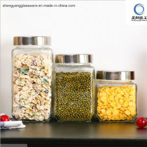 Square Storage Glass Jar with Metal Lid pictures & photos
