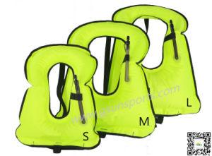 Unisex Adult Portable Inflatable Canvas Life Jacket Snorkel Vest for Diving Safety