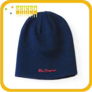 Cotton Blend Flat Embroidery Winter Knitted Beanies (BS011SSH)