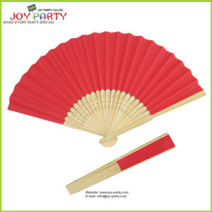 Red Paper Hand Fan 23 Pieces of Bamboo Ribs