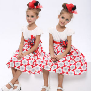 Cotton Dress with Flower Printed for Little Girls (1081#)
