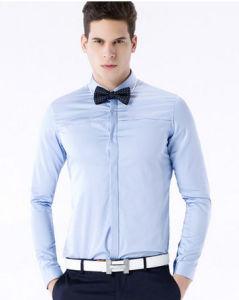 Men′s Blue Slim Fit Cotton Leisure Shirt pictures & photos