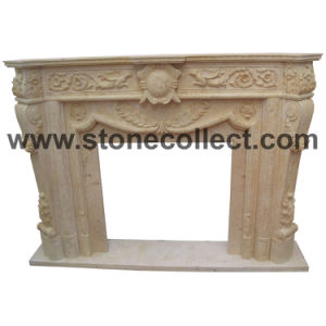 Hand Carved Beige Marble Fireplace pictures & photos