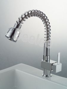 Unique Chromed Round Spring Pull out Kitchen Faucets Mixer