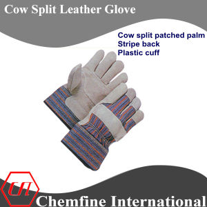 Cow Split Patched Palm, Stripe Back, Palstic Cuff Leather Work Gloves pictures & photos