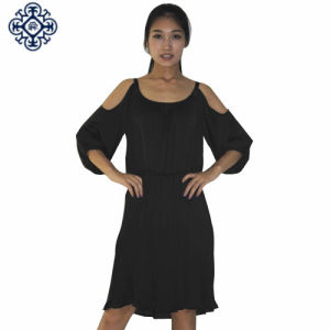 Ladies 3/4 Length Sleeve Chiffon Pleated Dress with Cold Shoulder on Sleeve (LDS-05)