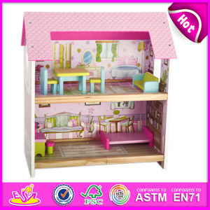 2015 New Style Hot Sale Wooden Doll House, Beartiful Princess DIY Wooden Doll House, Cute Wood Doll House with Furniture W06A078 pictures & photos
