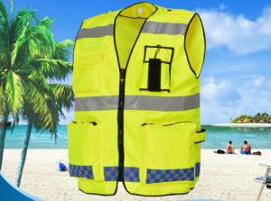 Factory Professional Supply Fluorescent Yellow Double Traffic Safety Men′s Vest pictures & photos
