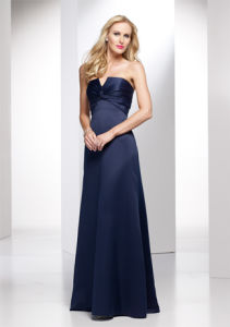 Navy Blue Taffeta V-Neckline Bridesmaid Dresses (BD3024) pictures & photos
