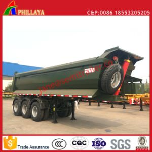 3 Axles Rear Tipper Semi-Truck Hydraulic Lifting End Dump Trailer pictures & photos