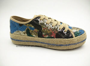 Autumn New Lady Fashion Jute Shoes with Pretty Floral Fabric (ET-FEK160126W) pictures & photos