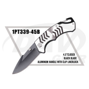 "4.5""Closed Alum Handle Liner Lock Knife with Black Blade/Crarbiner (1PT339-45B) pictures & photos"