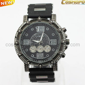 Black Charming Men Silicone Watch with Stones (SA1933)