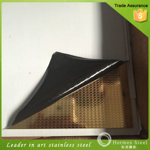 Gold Embossed Stainless Steel Plate for Interiors and Kitchen Products pictures & photos