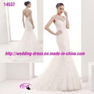 Cap Sleeve Beading Lace Mermaid Dress Wedding with Lace up pictures & photos