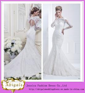 New Hot Elegant Mermaid Lace Keyhole Back Appliques Boat Neck Sweep Train Plus Size Long Sleeve Wedding Gowns Yj0034