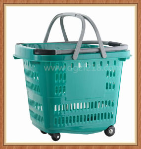 50L Customized Color Portable Plastic Trolley Shopping Basket for Supermarket