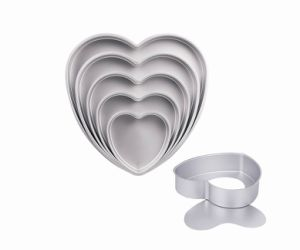 3 Inch Depth Professional High Quality Bakeware Aluminum Anodized Heart Cake Pan with Removable Bottom (MY2746A-MY2754A) pictures & photos