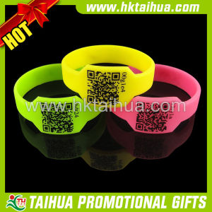 Custom Qr Silicone Bracelet Rubber Wristband with Printed (TH-band035) pictures & photos