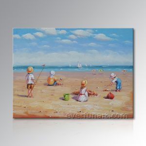 Home Decoration Canvas Art Beach Children Oil Painting (EIF-246) pictures & photos